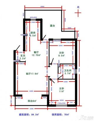 宜家风格二居室15-20万80平米户型图