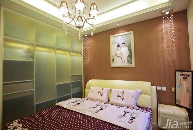 简约风格一居室富裕型90平米卧室卧室背景墙床效果图