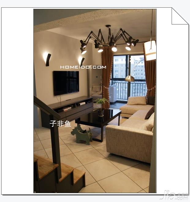 欧式风格小户型实用经济型60平米客厅沙发效果图