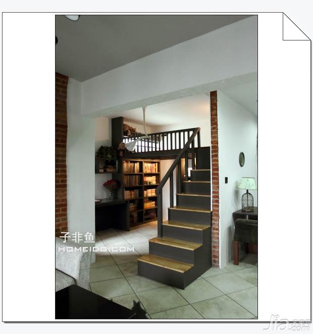 欧式风格小户型经济型60平米餐厅楼梯书架图片