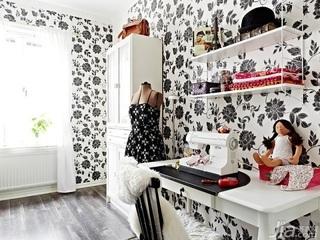 简约风格一居室经济型80平米工作区背景墙装修效果图