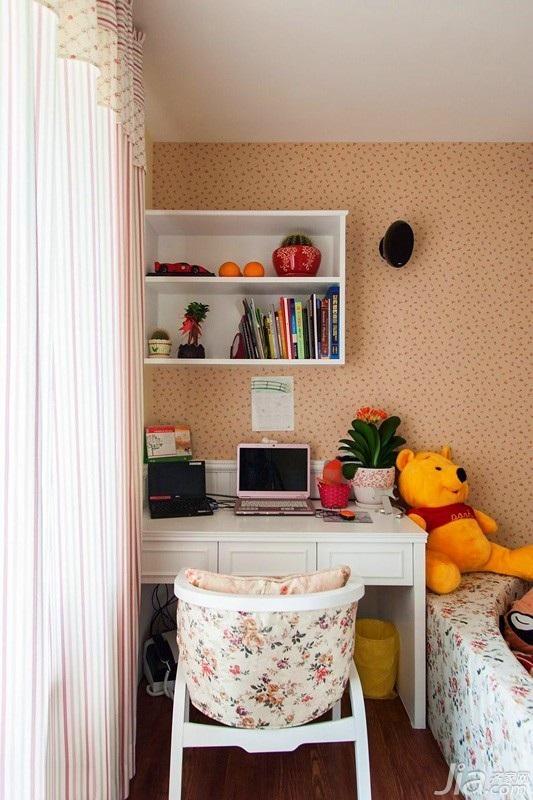 田园风格二居室经济型80平米卧室书桌效果图