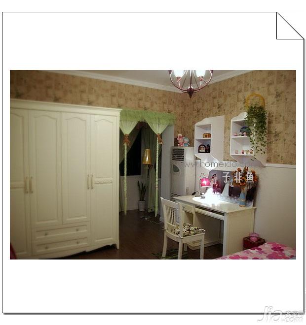田园风格小户型经济型50平米卧室书桌旧房改造家装图片