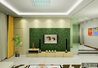 简约风格富裕型130平米客厅电视背景墙电视柜效果图