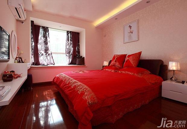 简约风格二居室富裕型90平米卧室飘窗床婚房家居图片