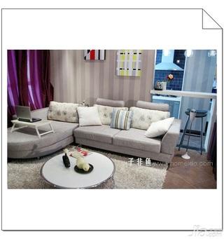 混搭风格公寓浪漫经济型60平米客厅吧台沙发图片