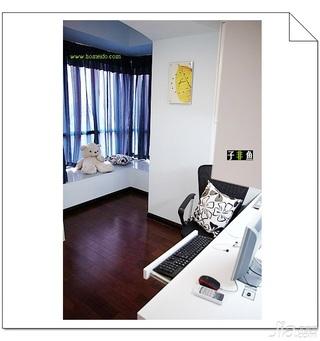 混搭风格公寓经济型60平米卧室飘窗书桌效果图