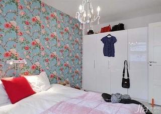 北欧风格二居室富裕型80平米卧室卧室背景墙衣柜设计图纸
