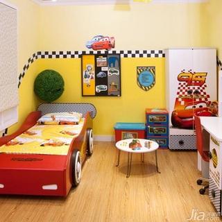 混搭风格儿童房卧室背景墙儿童床图片