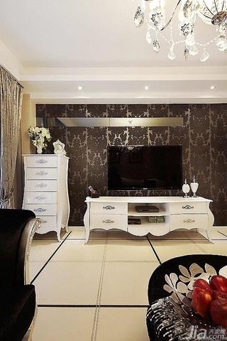 新古典风格四房富裕型140平米以上客厅电视背景墙电视柜效果图