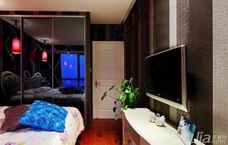 混搭风格一居室富裕型70平米卧室电视柜图片