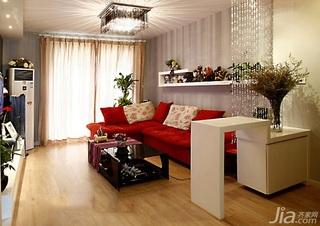 混搭风格一居室经济型60平米客厅沙发背景墙沙发效果图