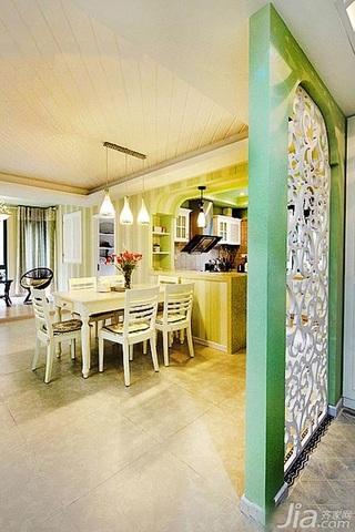 田园风格三居室富裕型120平米餐厅隔断餐桌效果图