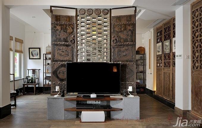 中式风格别墅豪华型电视背景墙效果图