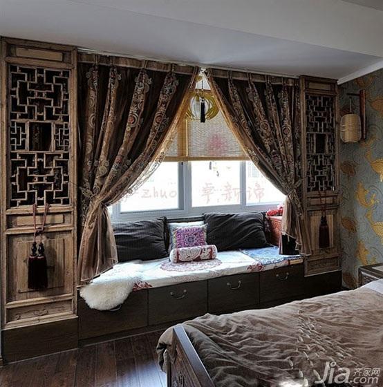 中式风格别墅豪华型卧室飘窗设计