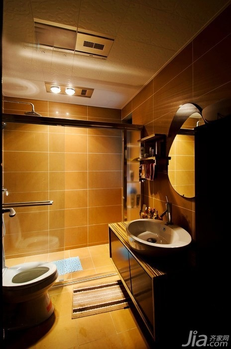 混搭风格三居室富裕型卫生间洗手台效果图