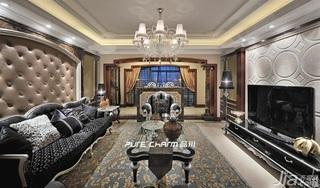 欧式风格四房豪华型140平米以上客厅电视背景墙装修图片