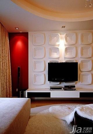 混搭风格三居室富裕型110平米客厅电视背景墙电视柜效果图