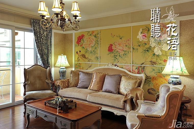 欧式风格三居室时尚富裕型客厅沙发背景墙沙发图片