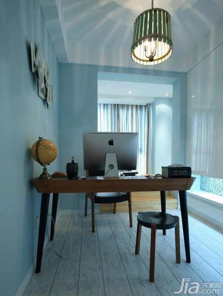 混搭风格三居室富裕型书房背景墙灯具效果图