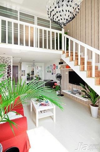 混搭风格复式富裕型客厅灯具效果图