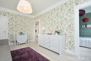 田园风格一居室5-10万40平米客厅壁纸效果图