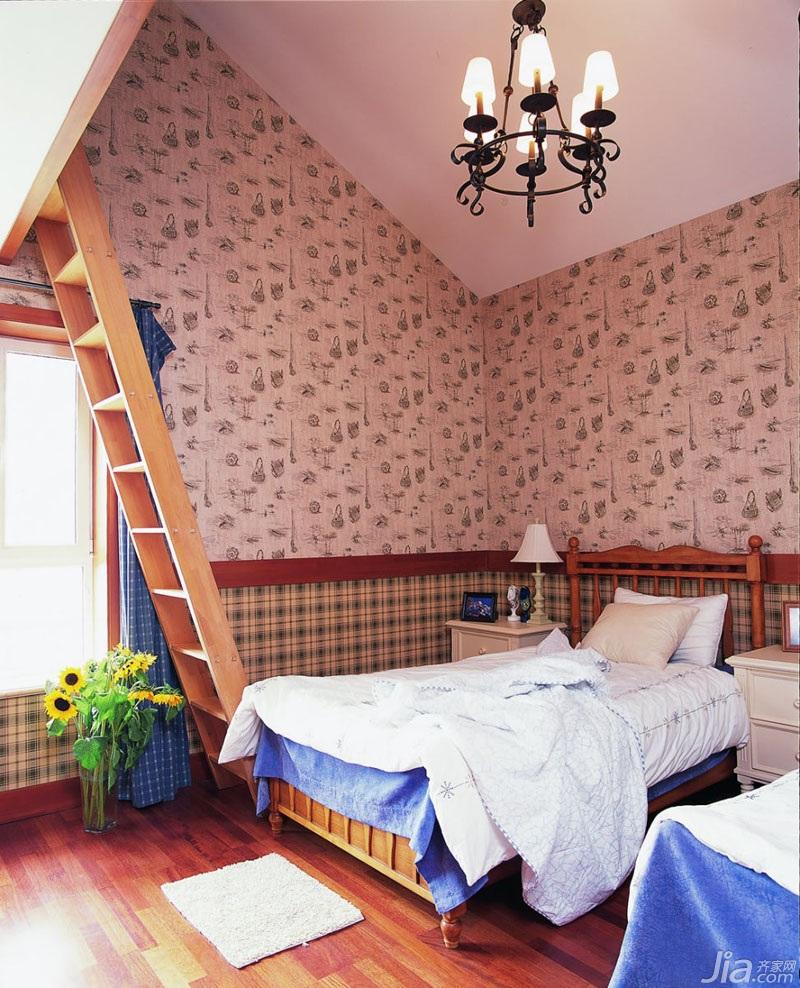 中式风格三居室温馨暖色调20万以上140平米以上卧室卧室背景墙床图片