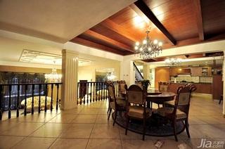 欧式风格别墅大气原木色豪华型140平米以上餐厅吊顶餐桌效果图