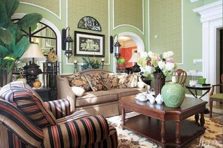 美式乡村风格别墅温馨绿色富裕型客厅沙发背景墙沙发效果图