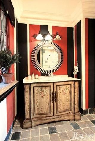 美式乡村风格别墅艺术白色富裕型卫生间洗手台效果图