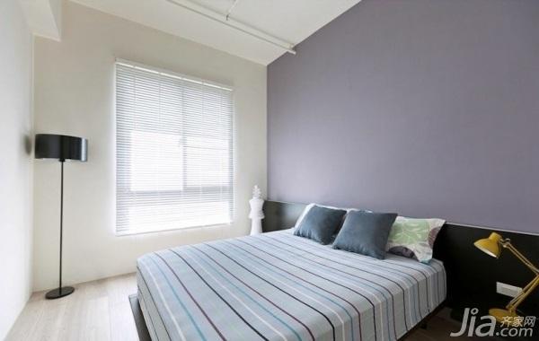 简约风格三居室紫色经济型卧室窗帘图片