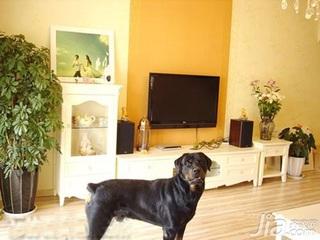 田园风格四房140平米以上电视背景墙电视柜婚房家装图片