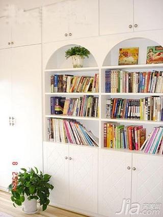 田园风格四房白色140平米以上书房书架婚房家装图