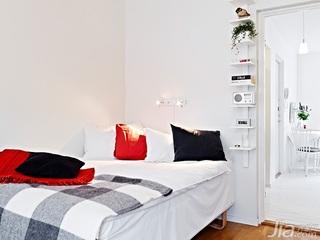 北欧风格小户型白色40平米卧室床图片
