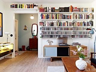 北欧风格二居室实用原木色60平米客厅电视背景墙电视柜效果图