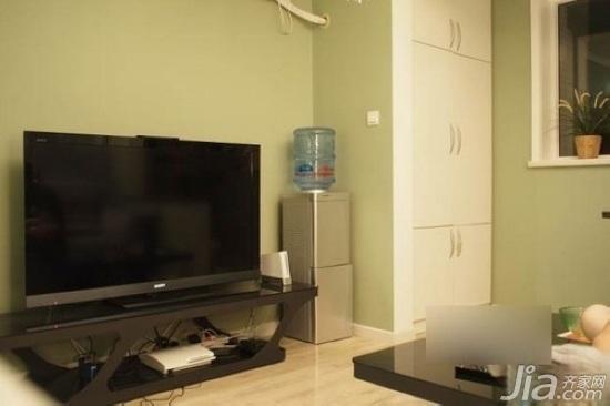 小户型绿色40平米客厅茶几效果图