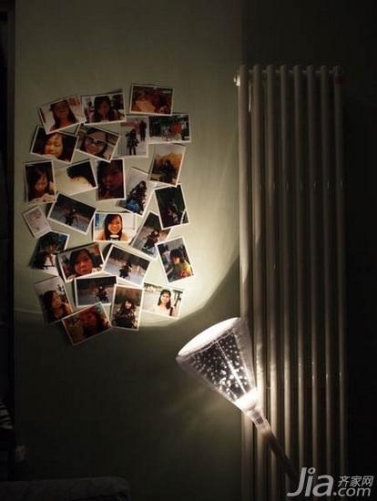 小户型浪漫绿色40平米照片墙装修图片