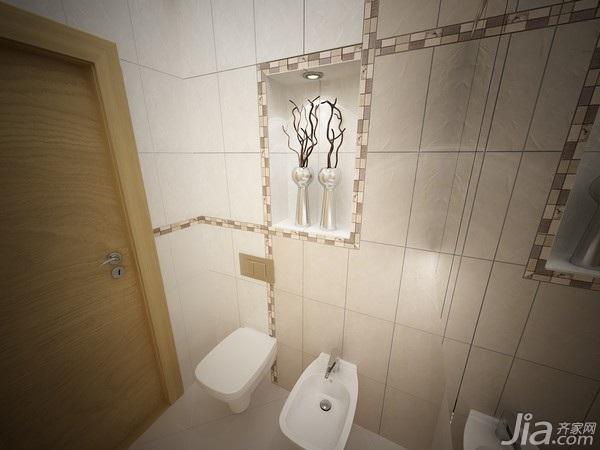 公寓实用卫生间背景墙马桶图片
