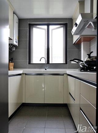 简约风格三居室白色110平米厨房橱柜婚房家装图片