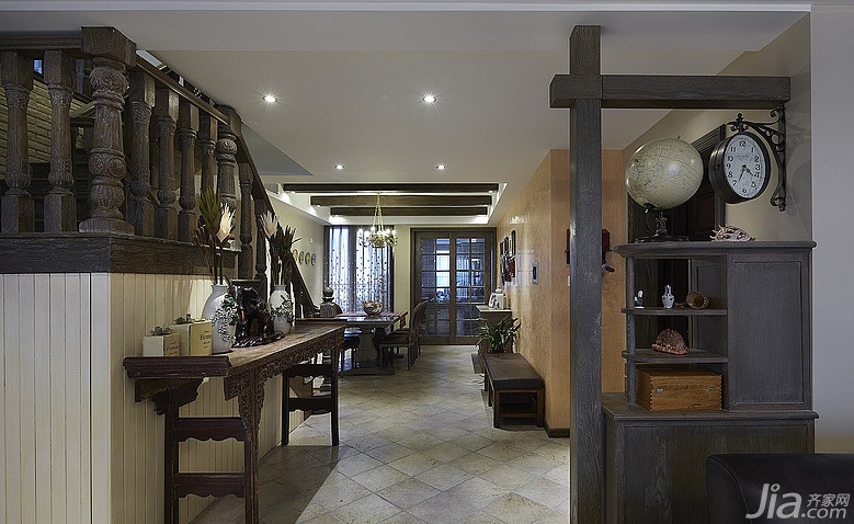 美式乡村风格跃层豪华型140平米以上玄关玄关隔断鞋柜图片高清图片
