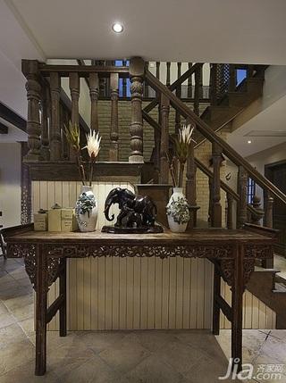 美式乡村风格跃层豪华型140平米以上阁楼楼梯效果图