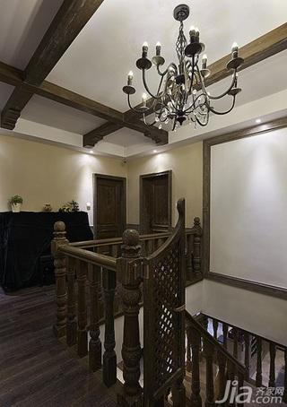 美式乡村风格跃层豪华型140平米以上阁楼楼梯灯具效果图
