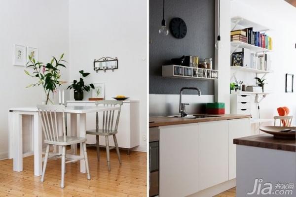 北欧风格小户型实用50平米餐厅餐桌效果图