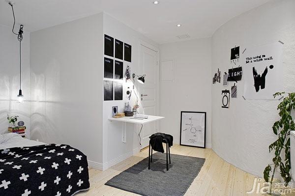北欧风格小户型实用50平米卧室书桌图片