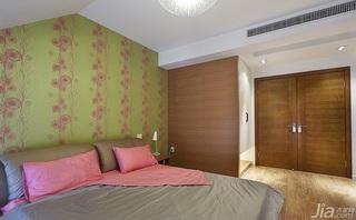 简约风格跃层暖色调20万以上卧室卧室背景墙装修效果图
