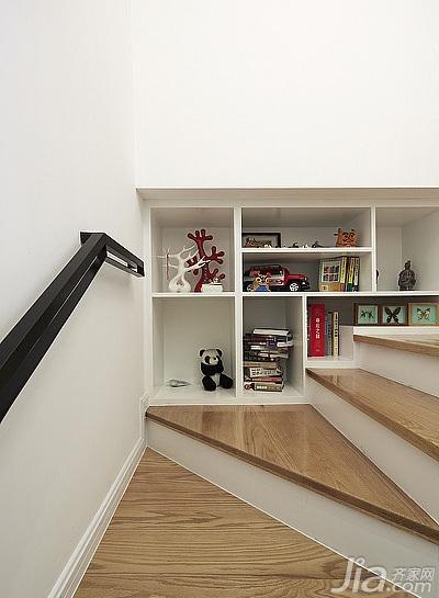 简约风格跃层原木色20万以上楼梯装修效果图