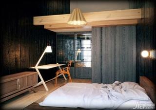 日式风格复式温馨经济型卧室卧室背景墙书桌效果图