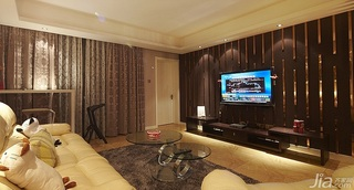 简约风格三居室富裕型电视背景墙婚房家装图