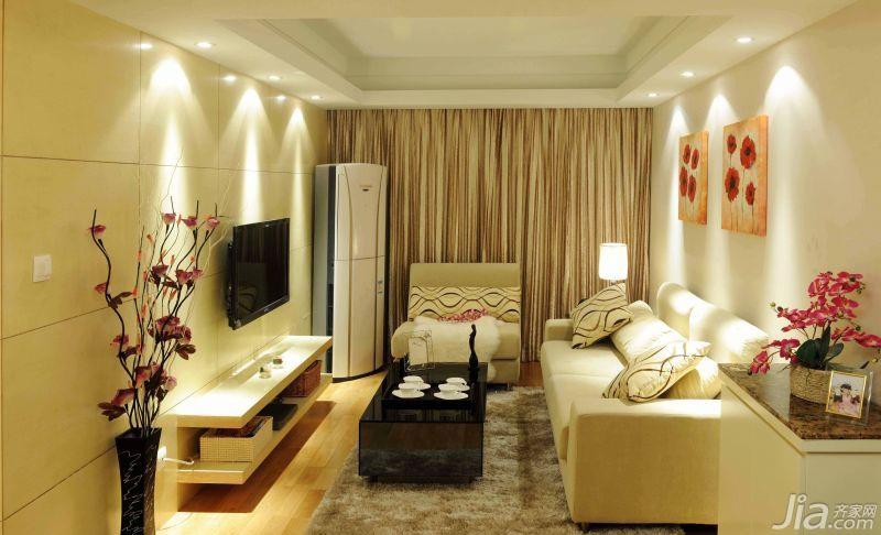 简约风格三居室70平米客厅婚房平面图