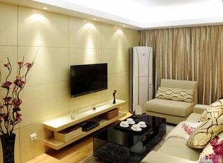 简约风格三居室70平米电视背景墙窗帘婚房家装图